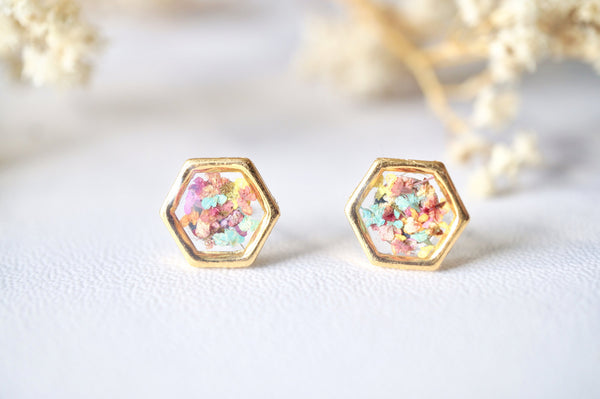 Real Dried Flowers and Resin Hexagon Gold Stud Earrings in Pastel Mix