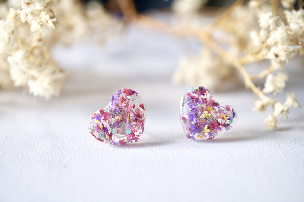 Real Dried Flowers and Resin Heart Stud Earrings in Purple Mix