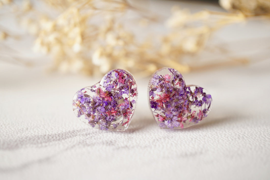 Real Dried Flowers and Resin Heart Stud Earrings in Purple and Rose