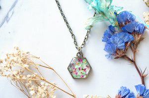Real Dried Flowers in Resin Necklace, Hexagon in Magenta, Green, and Yellow
