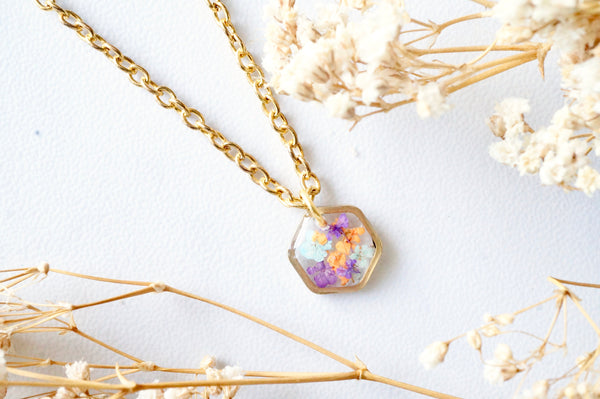 Real Dried Flowers in Resin Necklace, Small Gold Hexagon in Purples Oranges and Mint