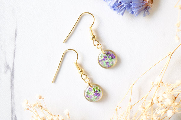 Real Dried Flowers and Resin Earrings, Gold Circle Drops in Purple Green