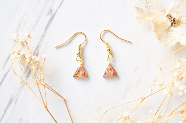 Real Dried Flowers and Resin Earrings, Gold Triangle Drops in Pink and Yellow
