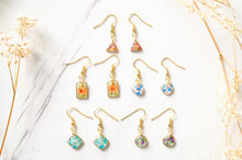 Real Dried Flowers and Resin Earrings, Gold Rectangle Drops in Orange and Green