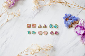 Real Dried Flowers and Resin Stud Earrings, Gold Teardrop in Yellow Red Pink Green
