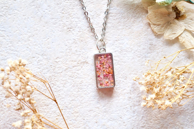 Real Dried Flowers in Resin Necklace in Pinks and Oranges 1
