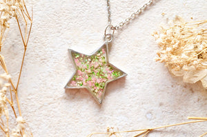 Real Pressed Flower and Resin Star Necklace in Pink Green