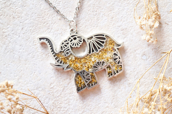 Real Dried Flowers in Resin Silver Tribal Elephant Necklace in Yellow White Mix