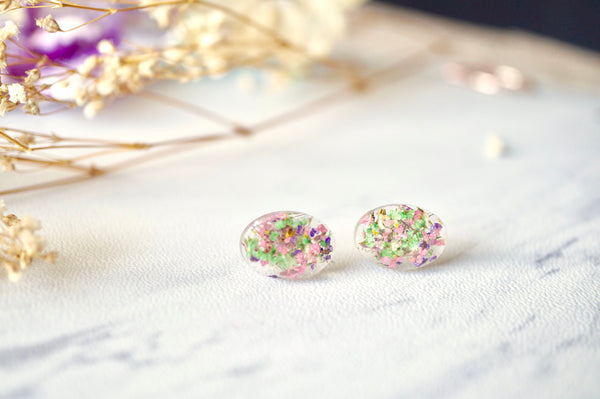 Real Dried Flowers and Resin Oval Stud Earrings in Purple Pink Green