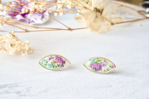 Real Dried Flowers and Resin Eye Stud Earrings in Purple Pink Green Blue White