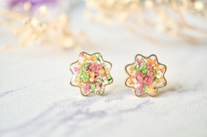 Real Dried Flowers and Resin Flower Stud Earrings in Pink Green Orange Mix