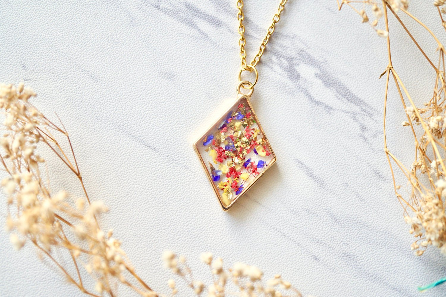 Real Pressed Flower and Resin Necklace Gold Diamond in Yellow, Red, Purple, Gold Foil
