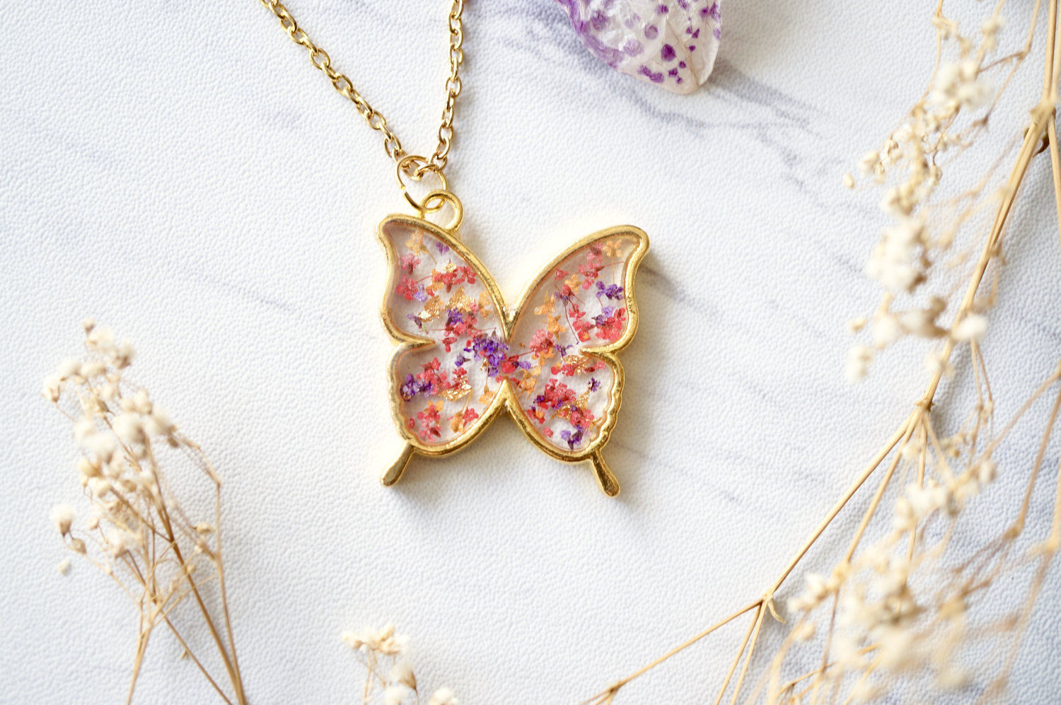 Real Dried Flowers and Resin Butterfly Necklace in Gold, Purple, Orange, Red
