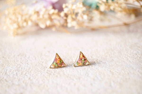 Real Dried Flowers and Resin Triangle Stud Earrings in Pink, Orange, Green