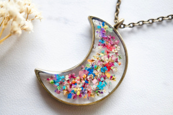 Real Dried Flowers and Resin Moon Necklace in Party Mix