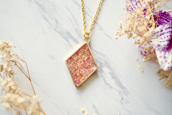 Real Dried Flowers and Resin Necklace Gold Diamond in Pinks, Orange, Gold Foil
