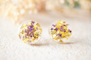 Real Dried Flowers and Resin Circle Stud Earrings in Purple, Yellow and Gold Flakes