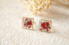 Real Dried Flowers and Resin Square Stud Earrings in Red and Mint