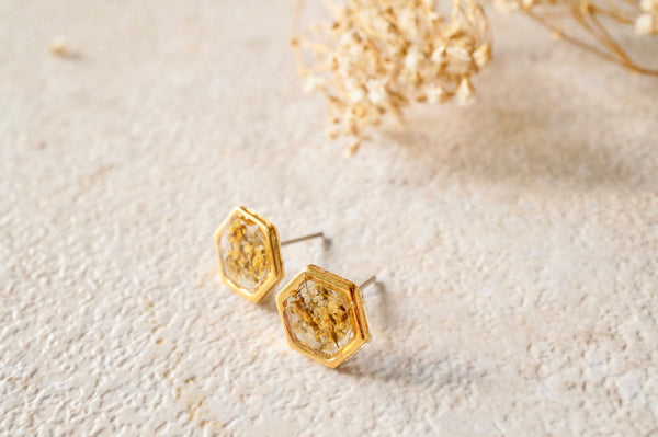Real Dried Flowers and Resin Hexagon Gold Stud Earrings in Yellow and White