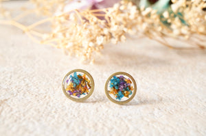 Real Dried Flowers and Resin Circle Stud Earrings in Purple Orange Blue