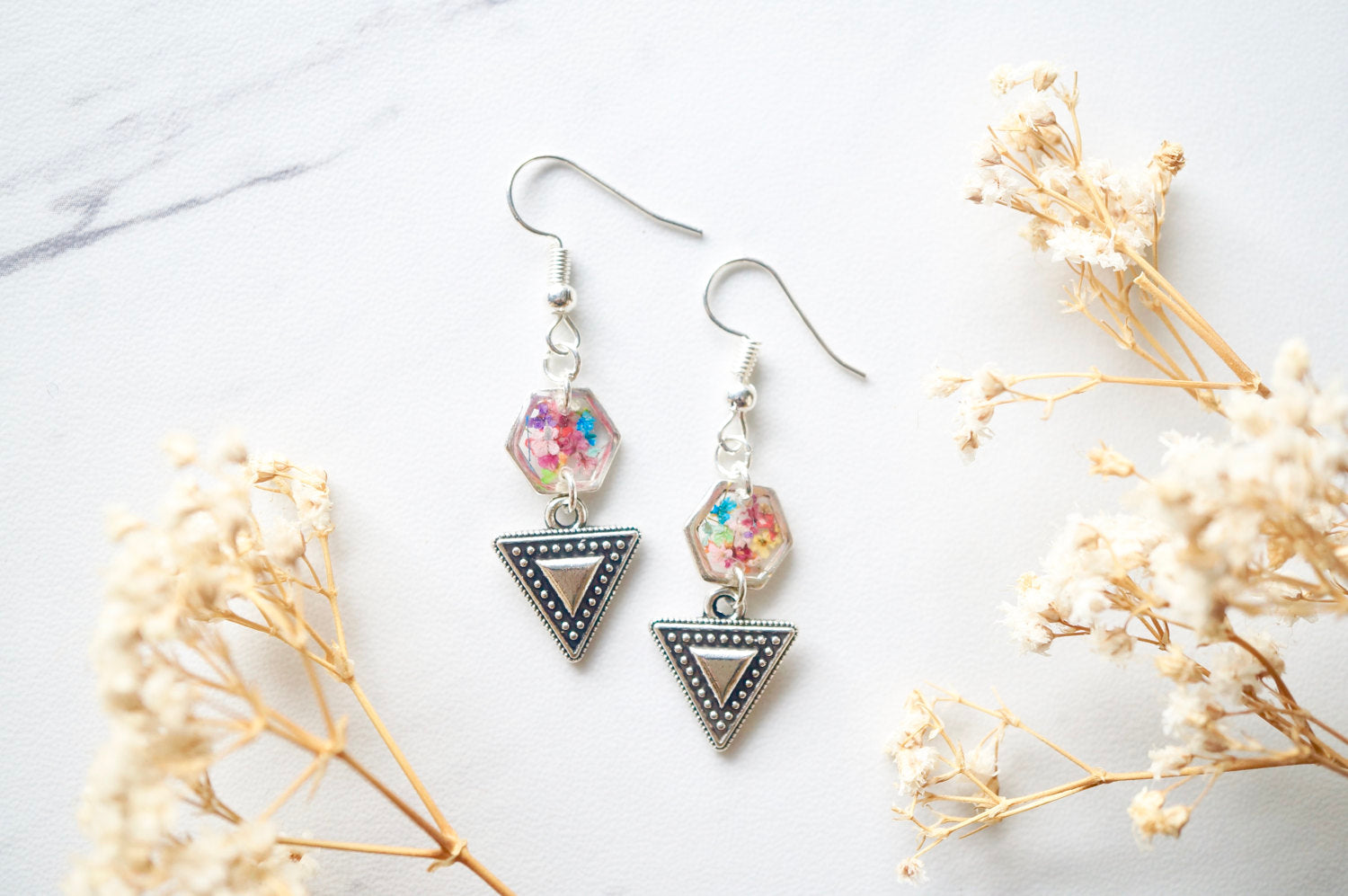 Real Dried Flowers and Resin Earrings in Silver and Party Mix with Tribal Boho Arrowhead