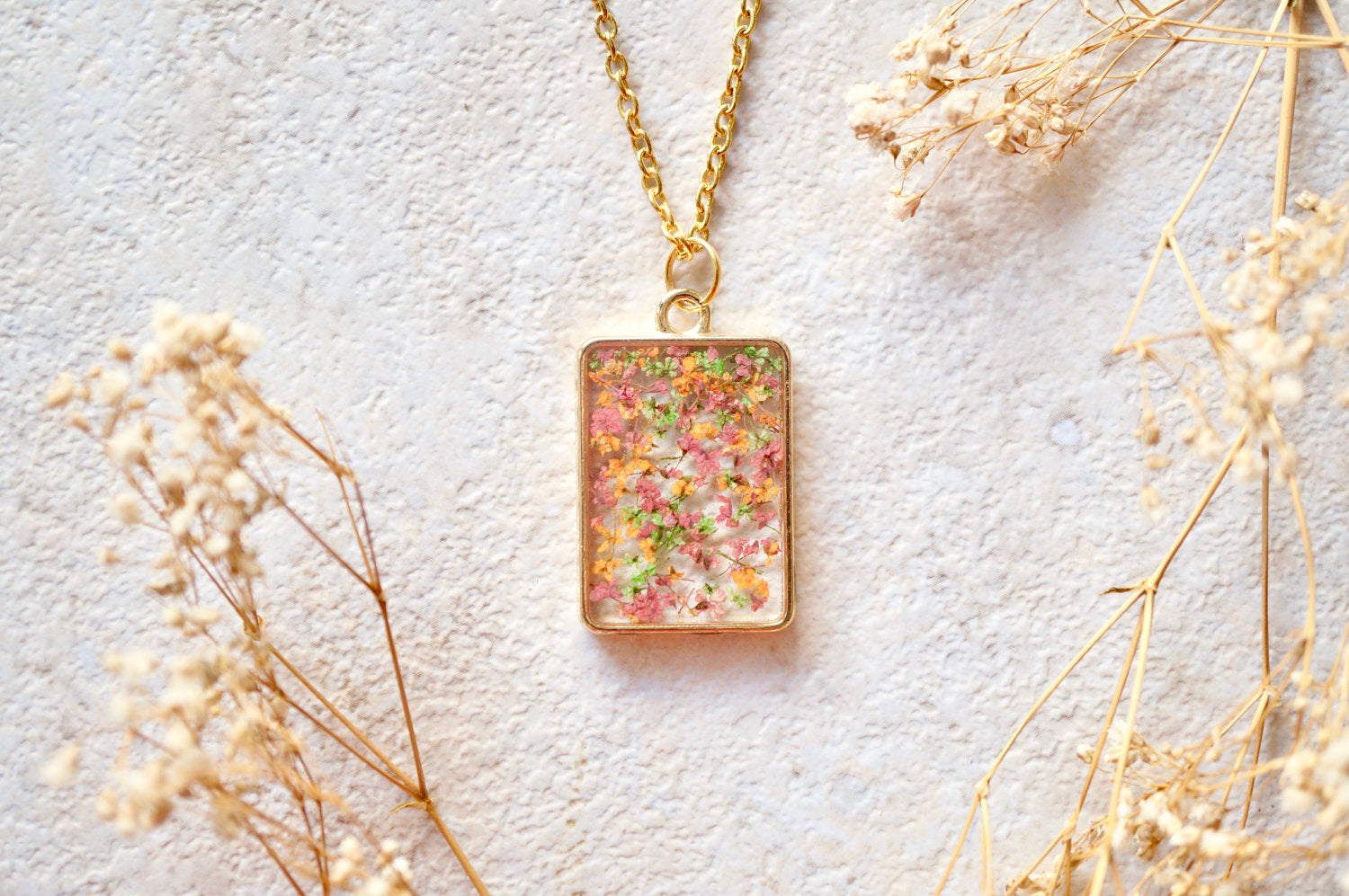 Real Dried Flowers in Resin Necklace, Gold Rectangle in Pink Green Orange Mix
