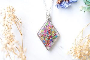 Real Pressed Flower and Resin Necklace Silver Diamond in Party Mix