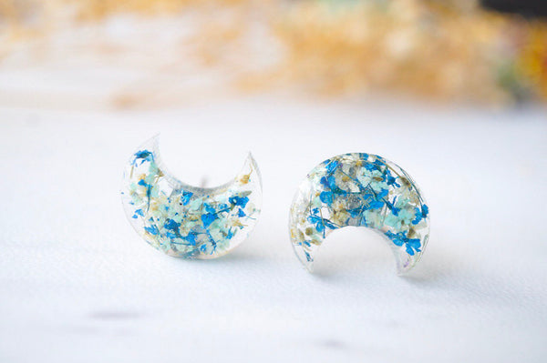Real Dried Flowers and Resin Moon Stud Earrings in Mint Blue White