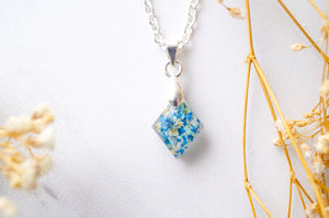 Real Dried Flowers in Diamond Resin Necklace in Blues