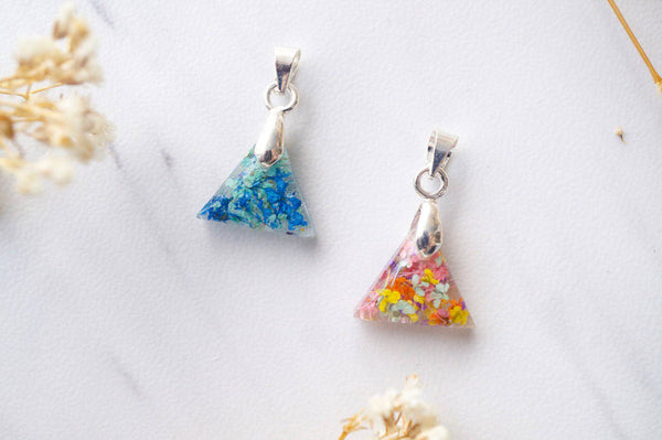Real Dried Flowers in Triangle Resin Necklace in Blue Mint