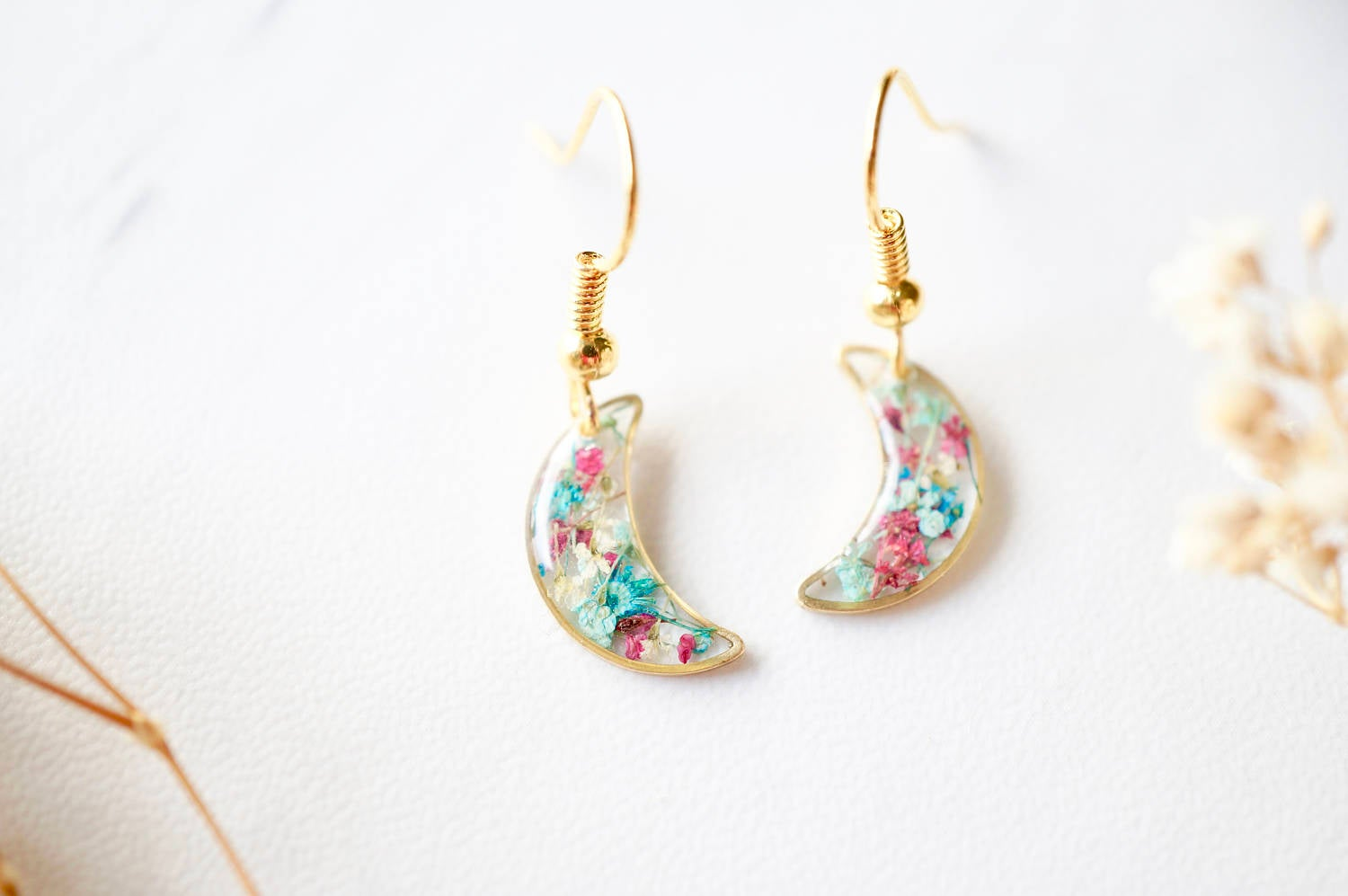 Real Pressed Flowers and Resin Earrings, Gold Celestial Moons in Maroon Mint Teal White