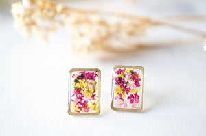 Real Dried Flowers and Resin Stud Earrings, Gold Rectangle in Maroon Pink Yellow