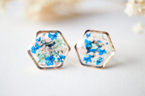 Real Dried Flowers and Resin Stud Earrings, Rose Gold Hexagon in Blue Mint Pink