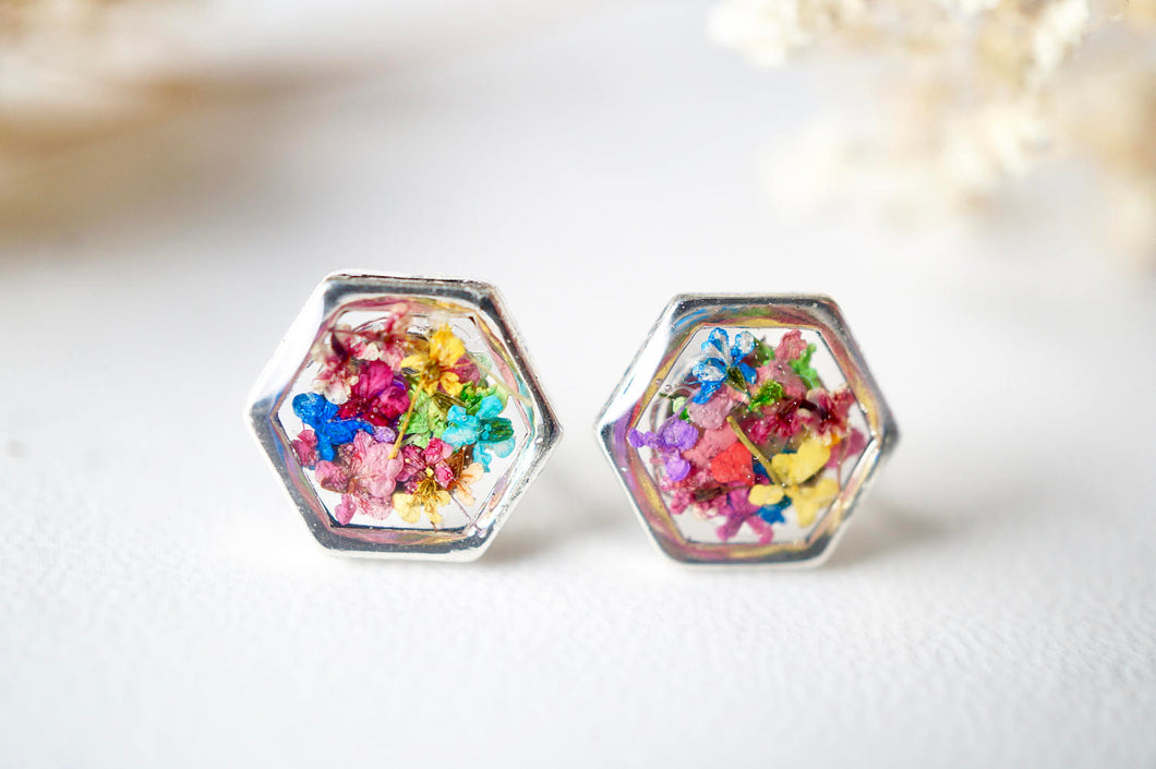 Real Dried Flowers and Resin Stud Earrings, Silver Hexagon in Party Mix
