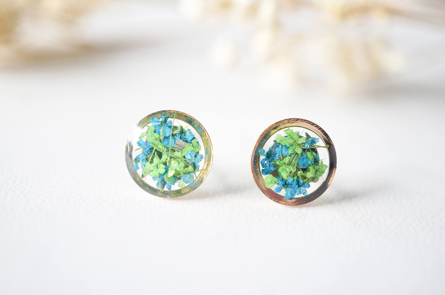 Real Dried Flowers and Resin Stud Earrings, Rose Gold Circle in Green and Blue