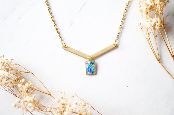 Real Pressed Flowers in Resin Necklace, Gold Arrow and Rectangle in Purple Blue Mint Teal