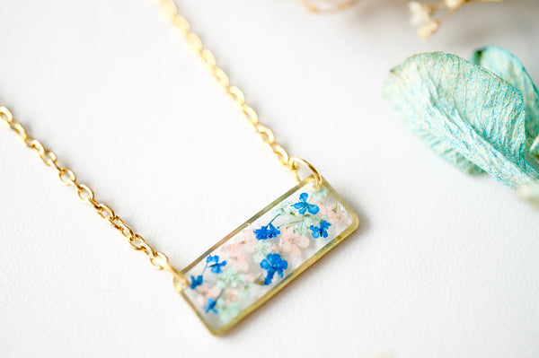 Real Dried Flowers and Resin Necklace, Gold Bar in Pink Mint Blue