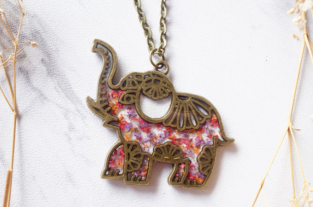 Real Dried Flowers in Resin Tribal Elephant Necklace in Pink Purple Orange