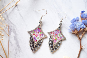 Real Dried Flowers and Resin Earrings in Pink Purple Red Green