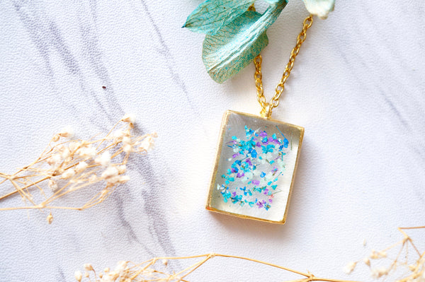 Real Dried Flowers in Resin Necklace, Gold Square in Blue Mint Teal Purple