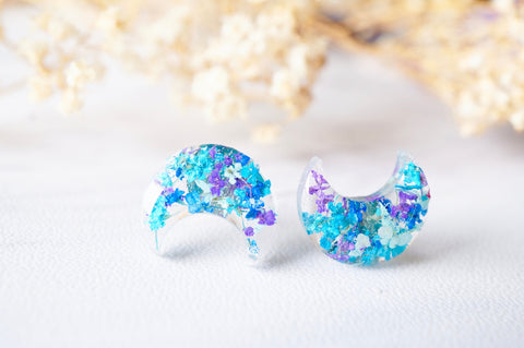 Real Pressed Flowers and Resin Moon Stud Earrings in Purple Blue Teal Mint