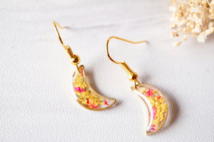 Real Dried Flowers and Resin Earrings, Gold Moons in Yellow and Red