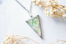 Real Pressed Flower and Resin Necklace Silver Triangle in Green, Pastel Pink, and Yellow
