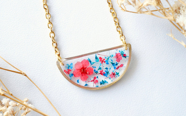 Real Dried Flowers in Resin Necklace, Half Circle in Blue and Red