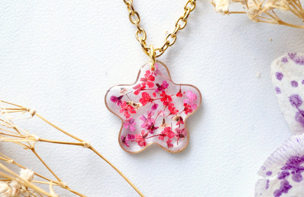 Real Dried Flowers in Resin Necklace, Small Gold Frame in Pinks and Reds
