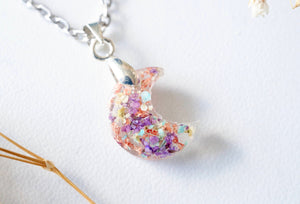 Real Pressed Flowers in Celestial Moon Resin Necklace - Purple Yellow Mint White with Rose Gold Flakes