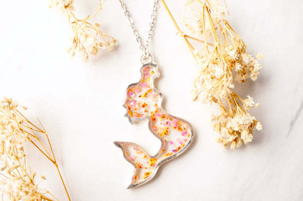 Real Dried Flowers in Resin Necklace, Silver Mermaid in Pink Orange Yellow Mix