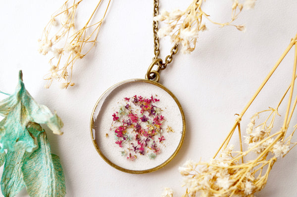 Real Dried Flowers in Resin, Circle Necklace in Pink Purple Mint Gold Flakes