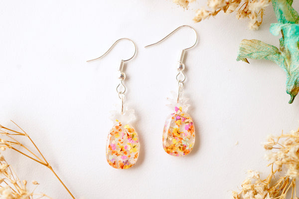 Real Dried Flowers and Resin Earrings, Pineapples in Yellow and Orange Mix