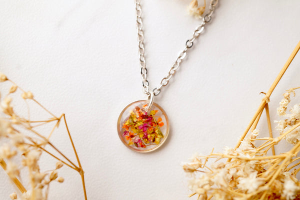 Real Dried Flowers in Resin Necklace, Small Silver Circle in Yellow Orange Red